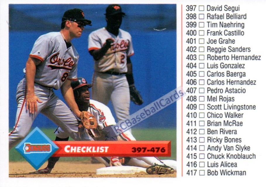 1993 Donruss Checklist 518 Itmb2753