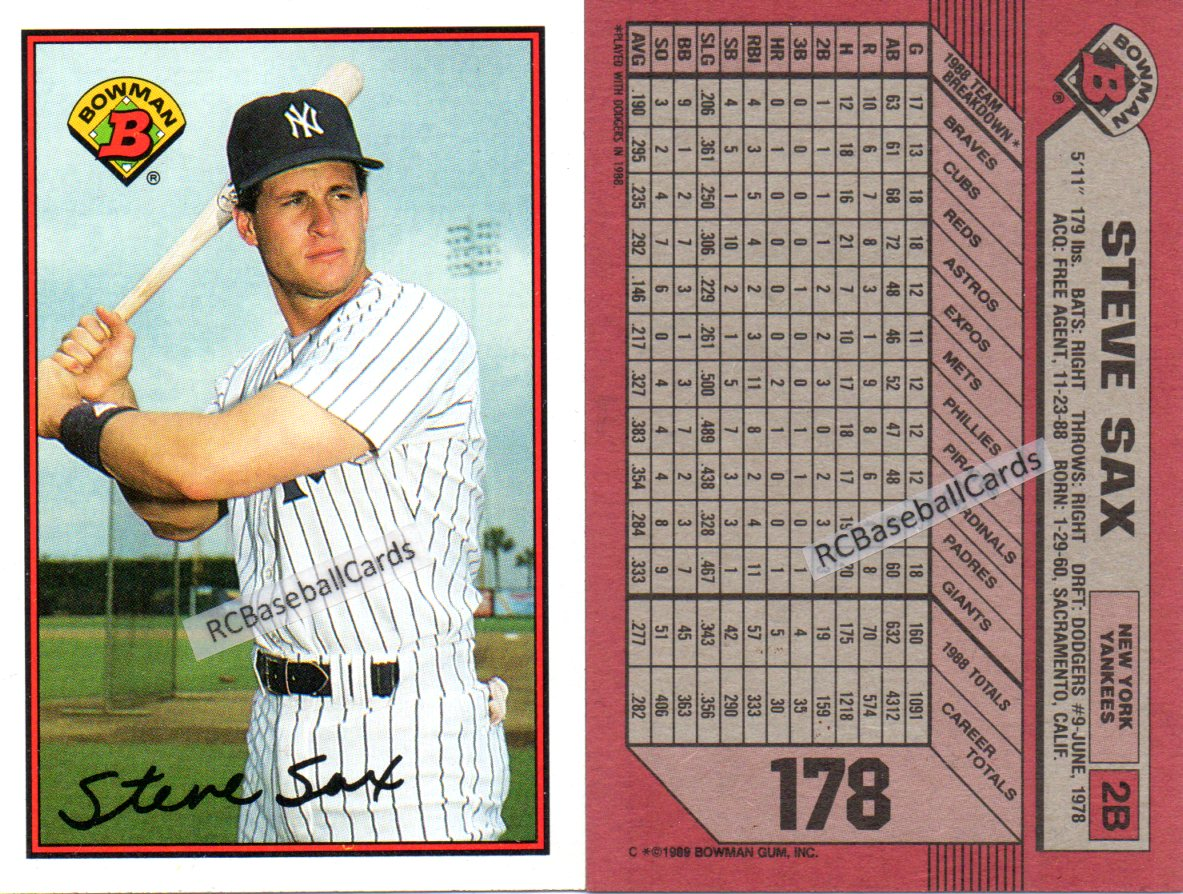 1989 Ny Yankees Baseball Trading Cards Baseball Cards By