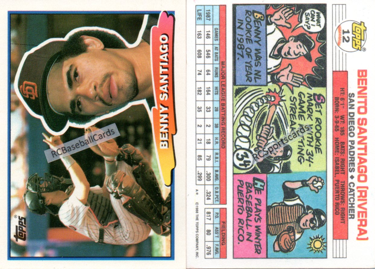 1988 San Diego Padres Baseball Trading Cards Baseball Cards By